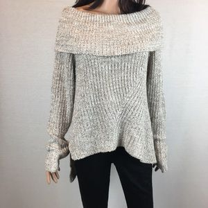 Sand Color Cowl Knit Sweater